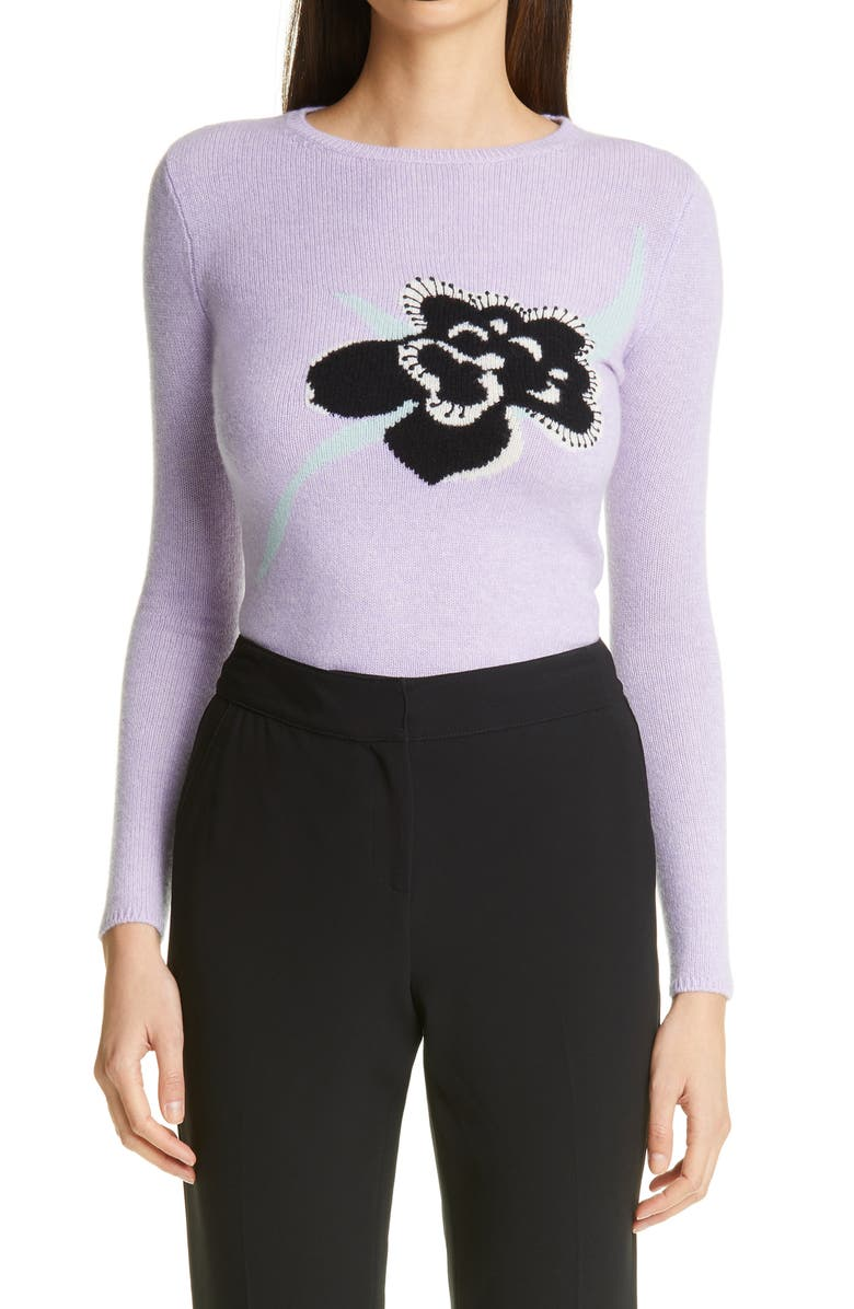 ST. JOHN COLLECTION Floral Intarsia Knit Cashmere Sweater, Main, color, BRIGHT LILAC MULTI