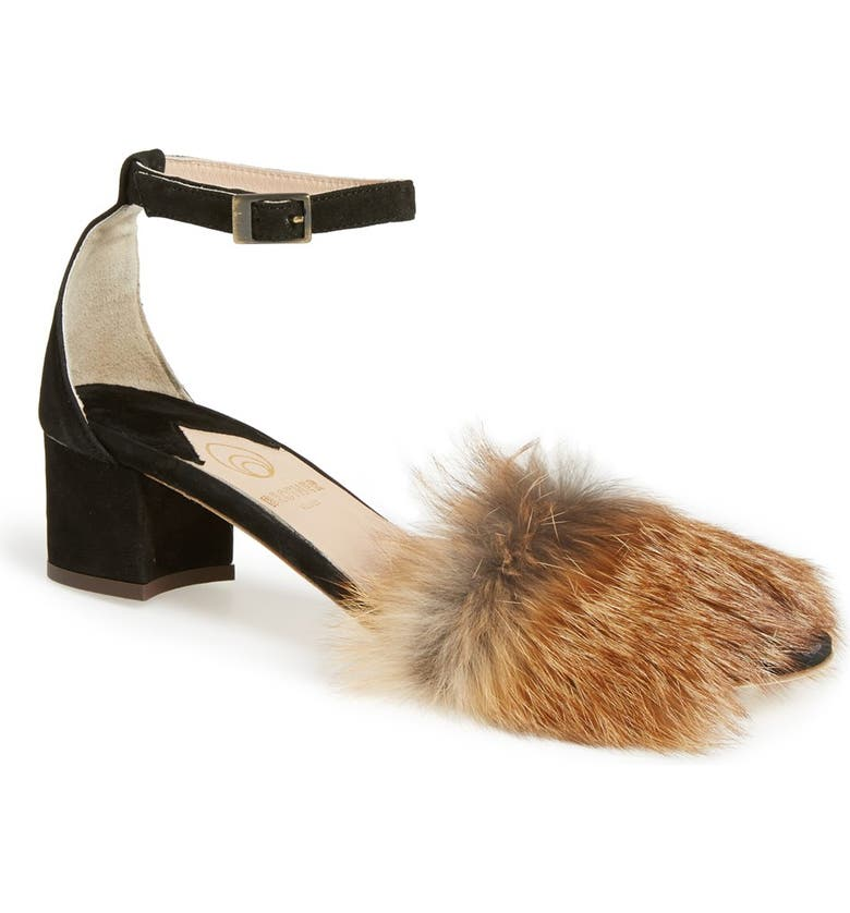BROTHER VELLIES 'Dhara' Genuine Fox Fur Ankle Strap Sandal, Main, color, 001