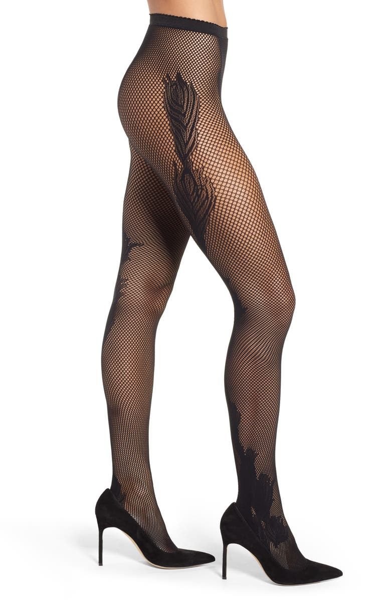 NATORI Peacock Feather Net Tights, Main, color, BLACK