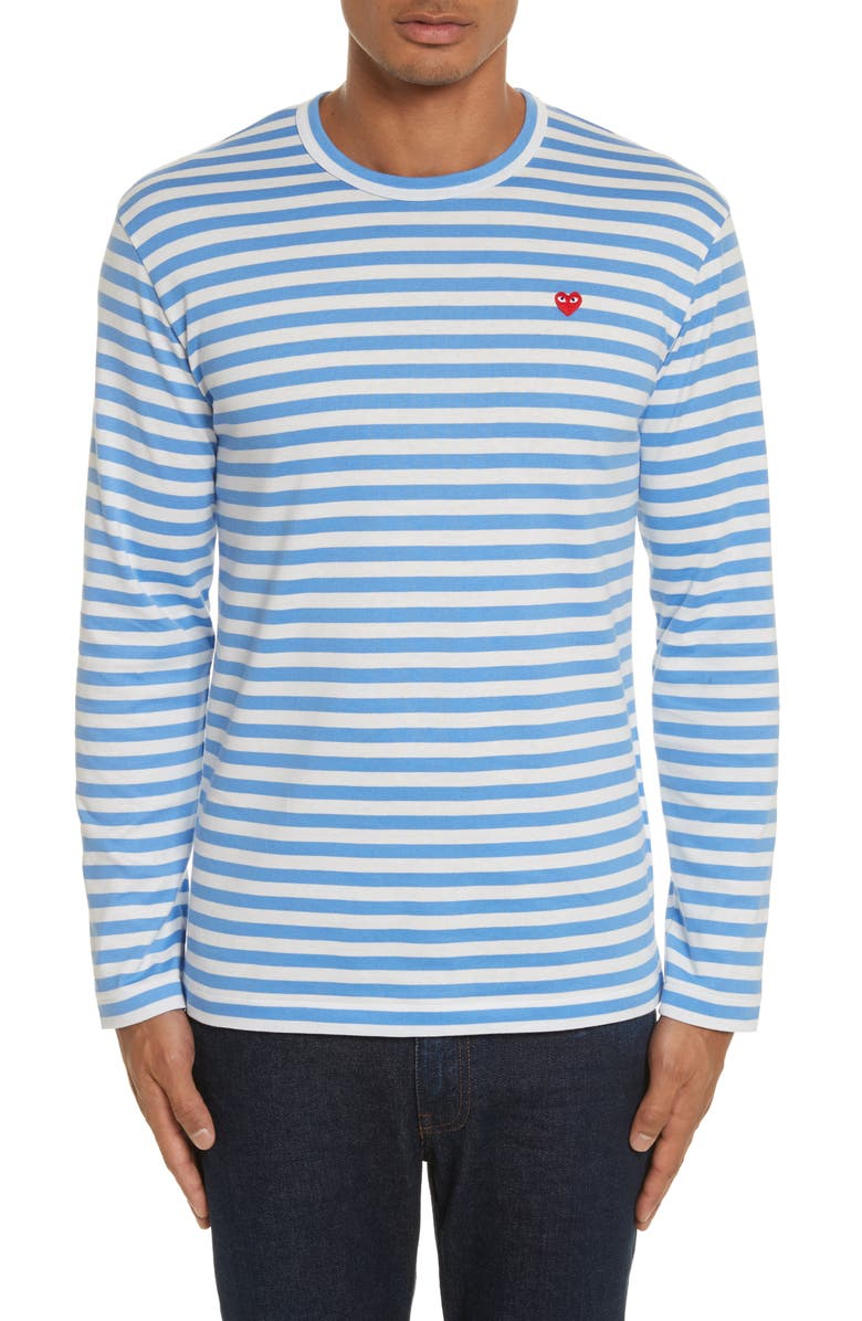 COMME DES GARÇONS PLAY Long Sleeve Stripe Crewneck T-Shirt, Main, color, 400