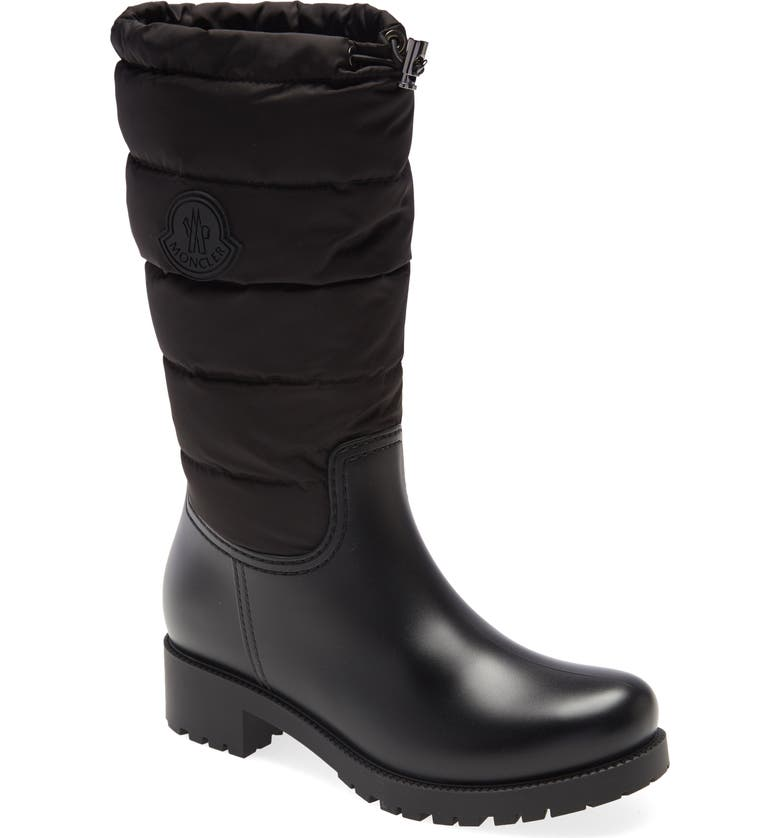 MONCLER Ginette Tall Waterproof Rain Boot, Main, color, Black