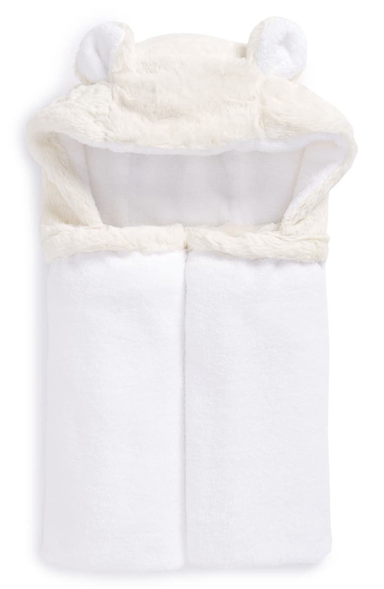 LITTLE GIRAFFE Luxe Hooded Towel, Main, color, CREAM