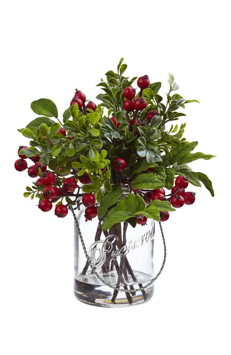 NEARLY NATURAL Berry Boxwood in Glass Jar, Main, color, GREEN