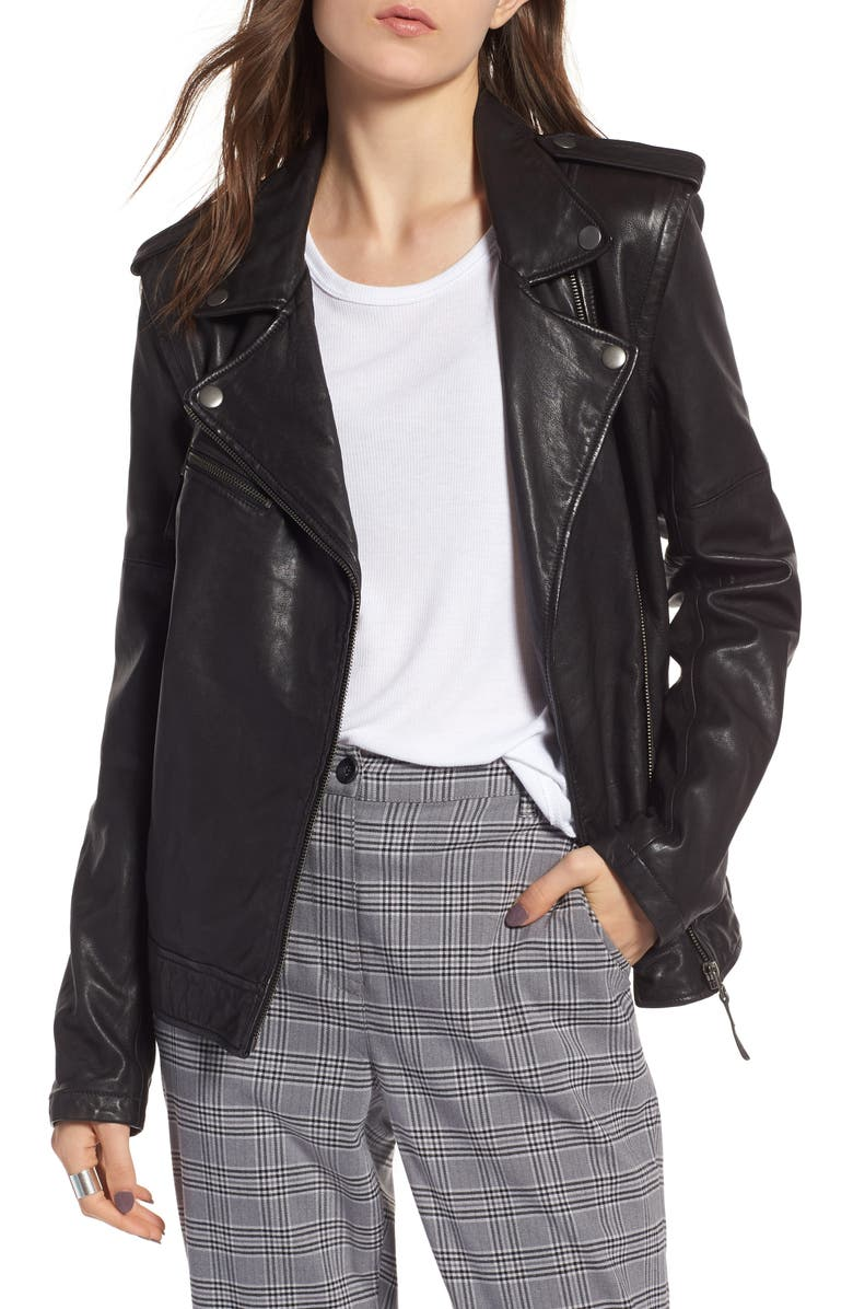 TREASURE & BOND Convertible Leather Jacket, Main, color, 001