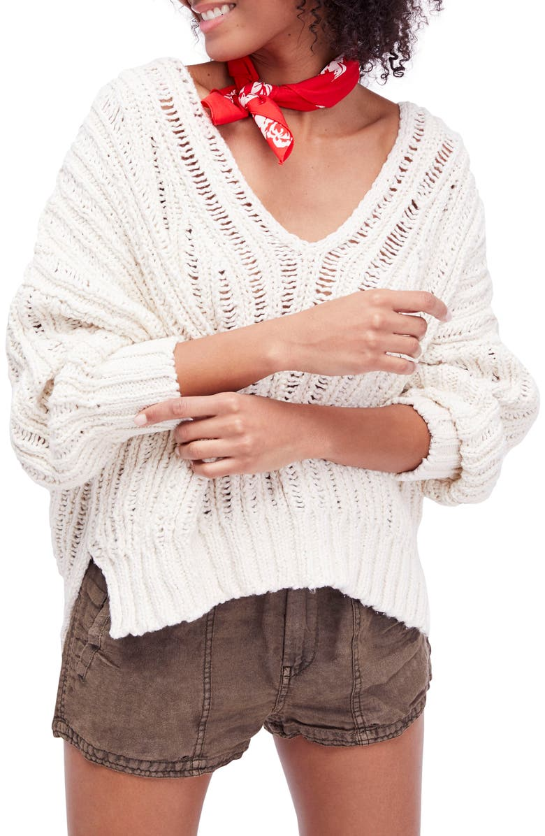 FREE PEOPLE Infinite V-Neck Sweater, Main, color, 103