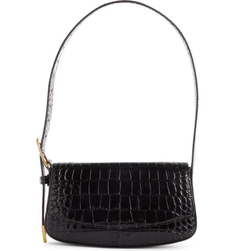 BALENCIAGA Ghost Sling Croc Embossed Leather Shoulder Bag, Main, color, 001