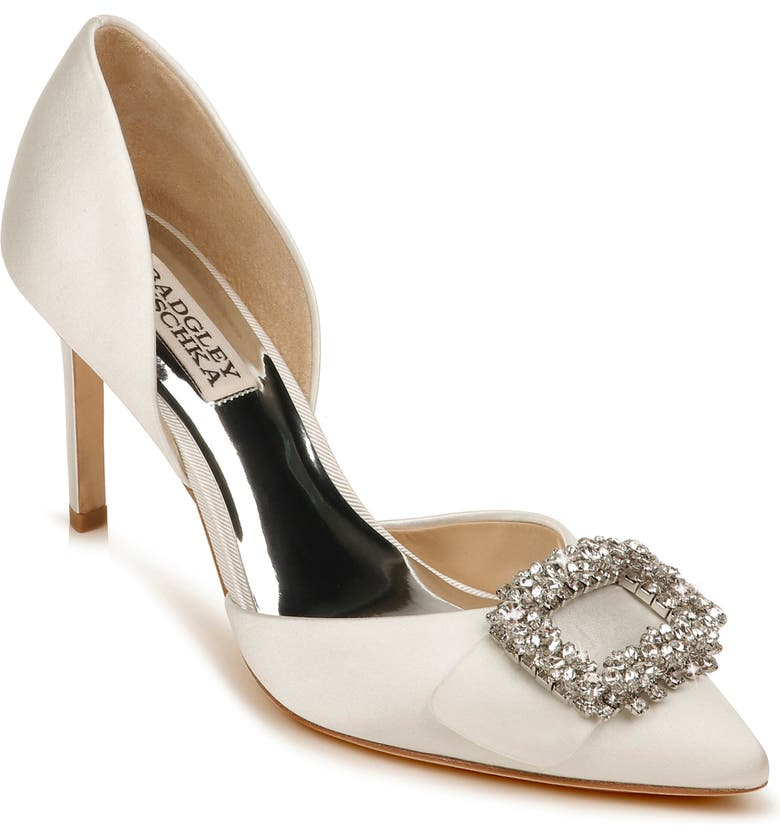 BADGLEY MISCHKA COLLECTION Gaiana Crystal Embellished Pointed Toe d'Orsay Pump, Main, color, SOFT WHITE SATIN