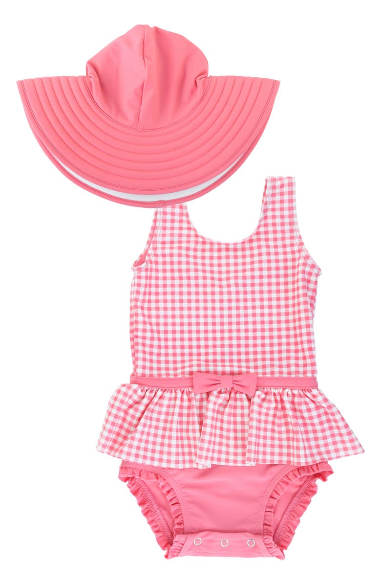 RUFFLEBUTTS Rose Gingham One-Piece Swimsuit & Floppy Hat Set, Main, color, 650