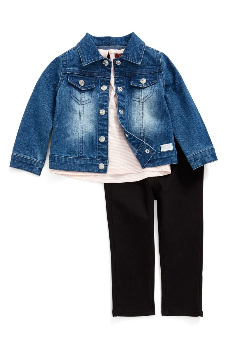 tormenta Joya intersección  7 For All Mankind® Denim Jacket, Stripe Tee & Jeggings Set (Baby Girls) |  Nordstrom