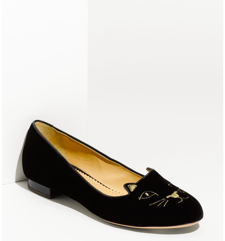CHARLOTTE OLYMPIA Embroidered Cat Velvet Flat, Main, color, 001