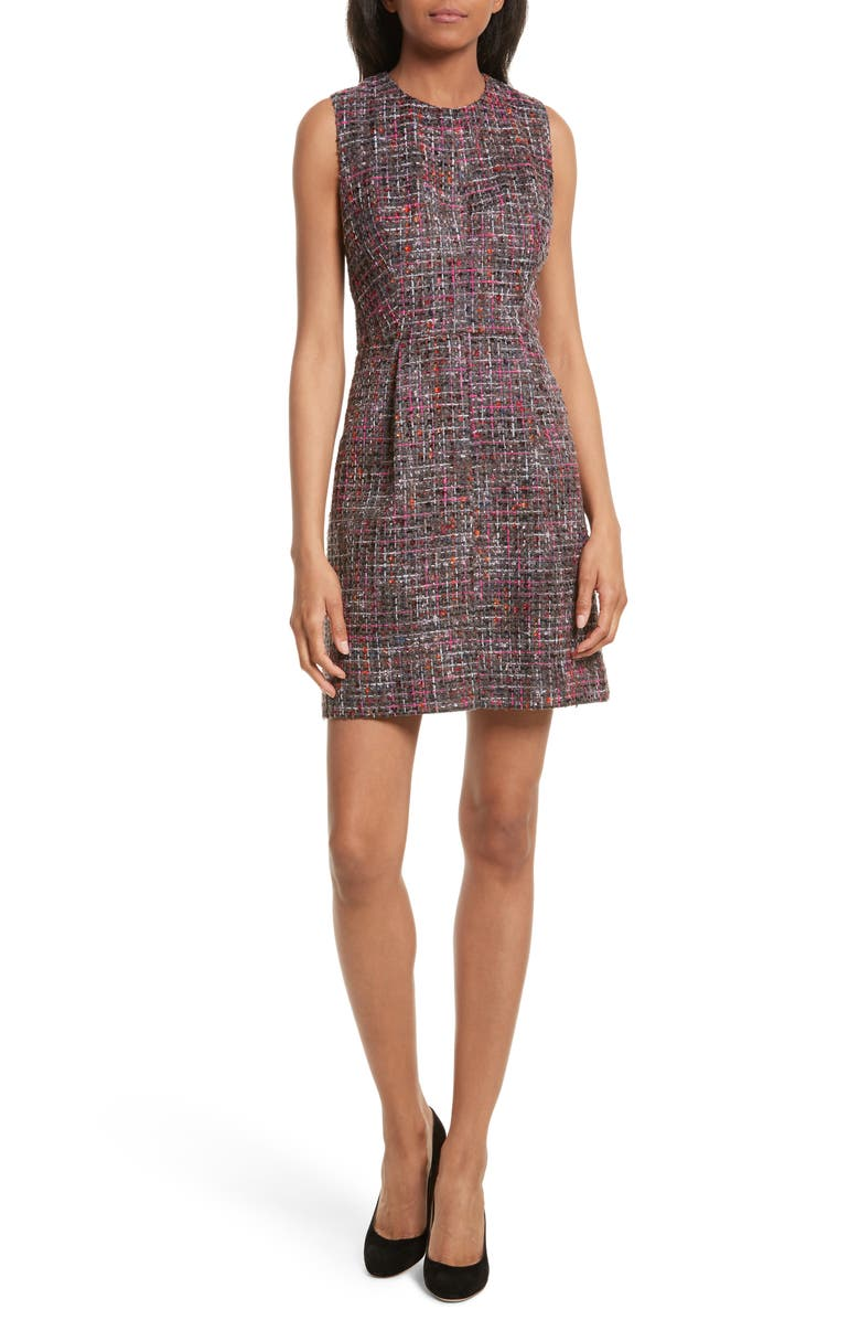 MILLY Coco A-Line Tweed Dress, Main, color, MULTI