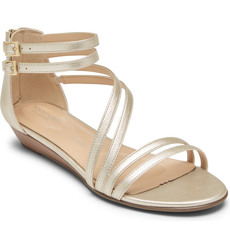 ROCKPORT Total Motion Zandra Wedge Sandal, Main, color, MOON GOLD LEATHER