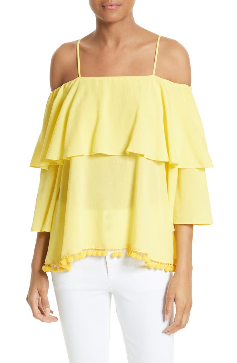 ALICE + OLIVIA Meagan Tiered Blouse, Main, color, 703