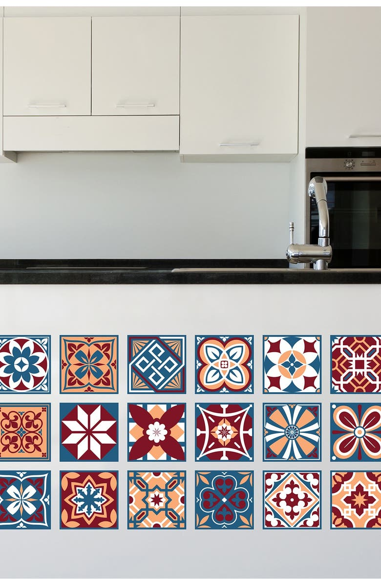 WALPLUS Multi Westminster Tiles Wall Sticker Decal, Main, color, RED