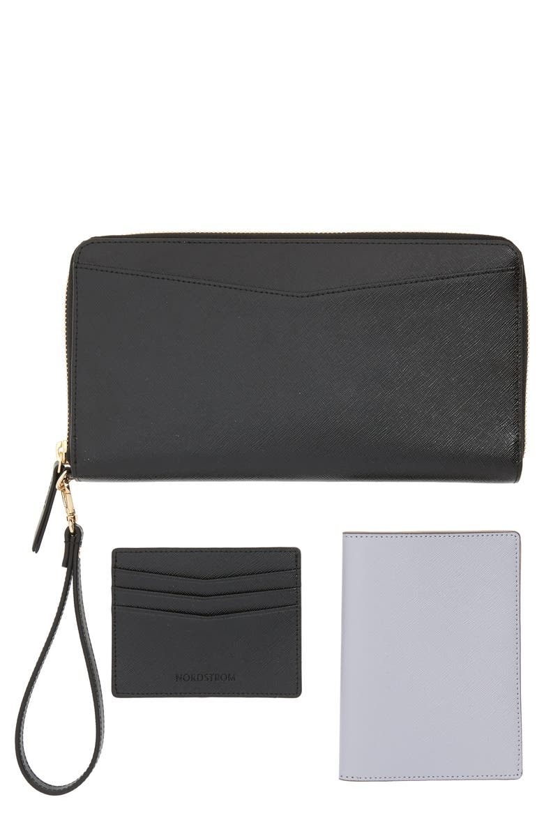NORDSTROM Leather Travel Organizer, Main, color, 001