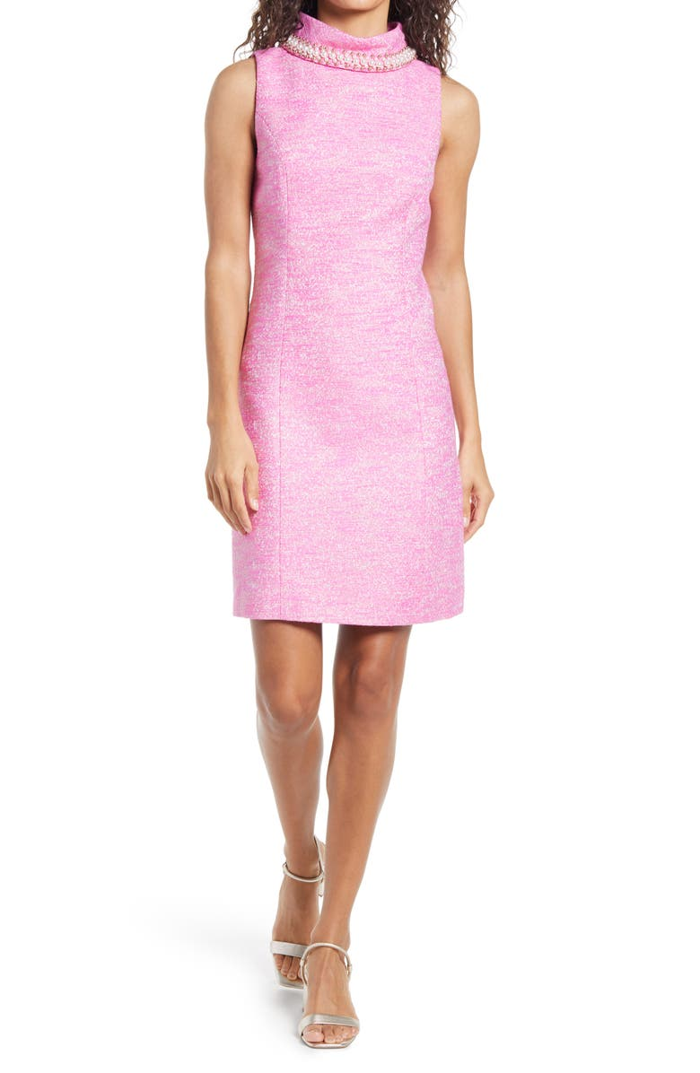 LILLY PULITZER<SUP>®</SUP> Portia Embellished Mock Neck Shift Dress, Main, color, 586