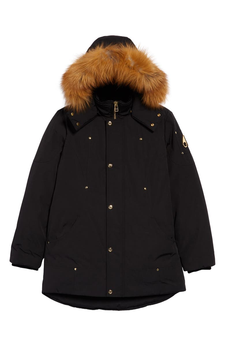 MOOSE KNUCKLES Kids' Water Repellent Hooded Parka with Genuine Fox Fur Trim, Main, color, BLACK / GOLD FOX