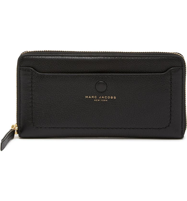 MARC JACOBS Leather Vertical Zip-Around Wallet, Main, color, BLACK