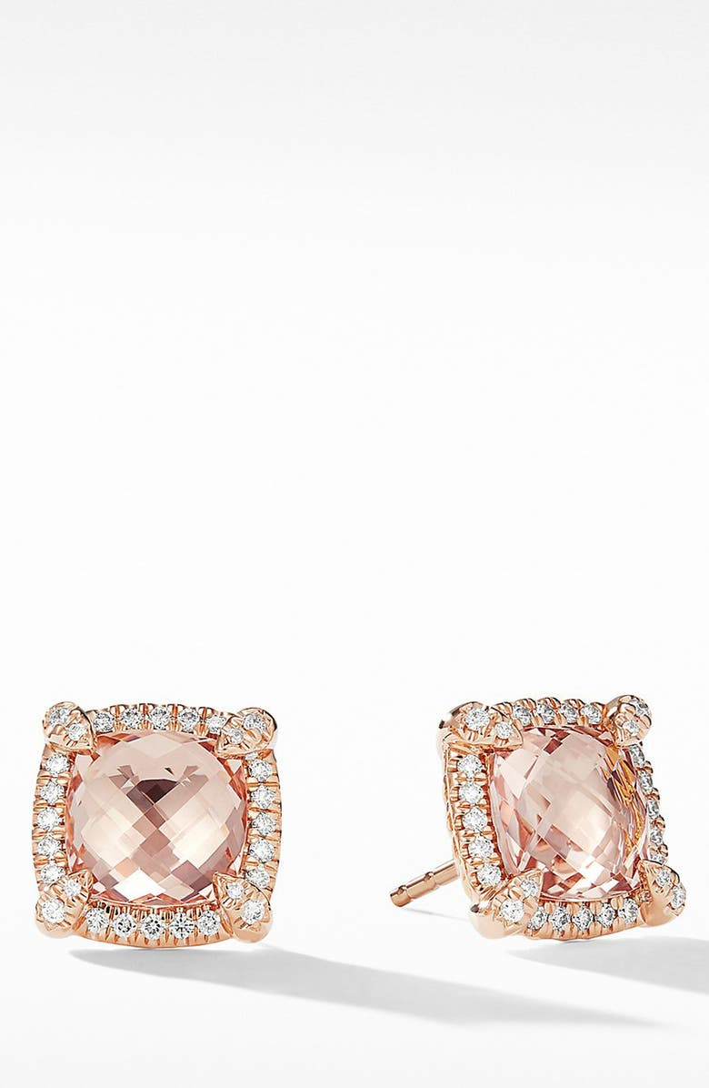 DAVID YURMAN Châtelaine Pavé Bezel Stud Earrings with Morganite and Diamonds in 18K Rose Gold, Main, color, 655