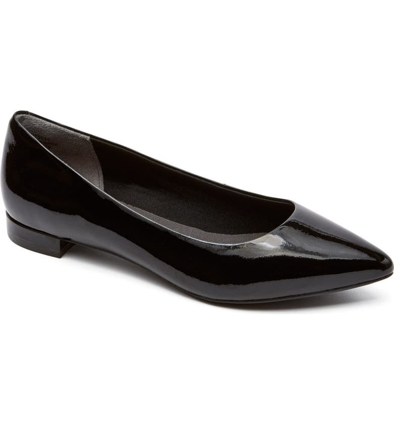 ROCKPORT 'Total Motion - Adelyn' Ballet Flat, Main, color, BLACK PATENT LEATHER