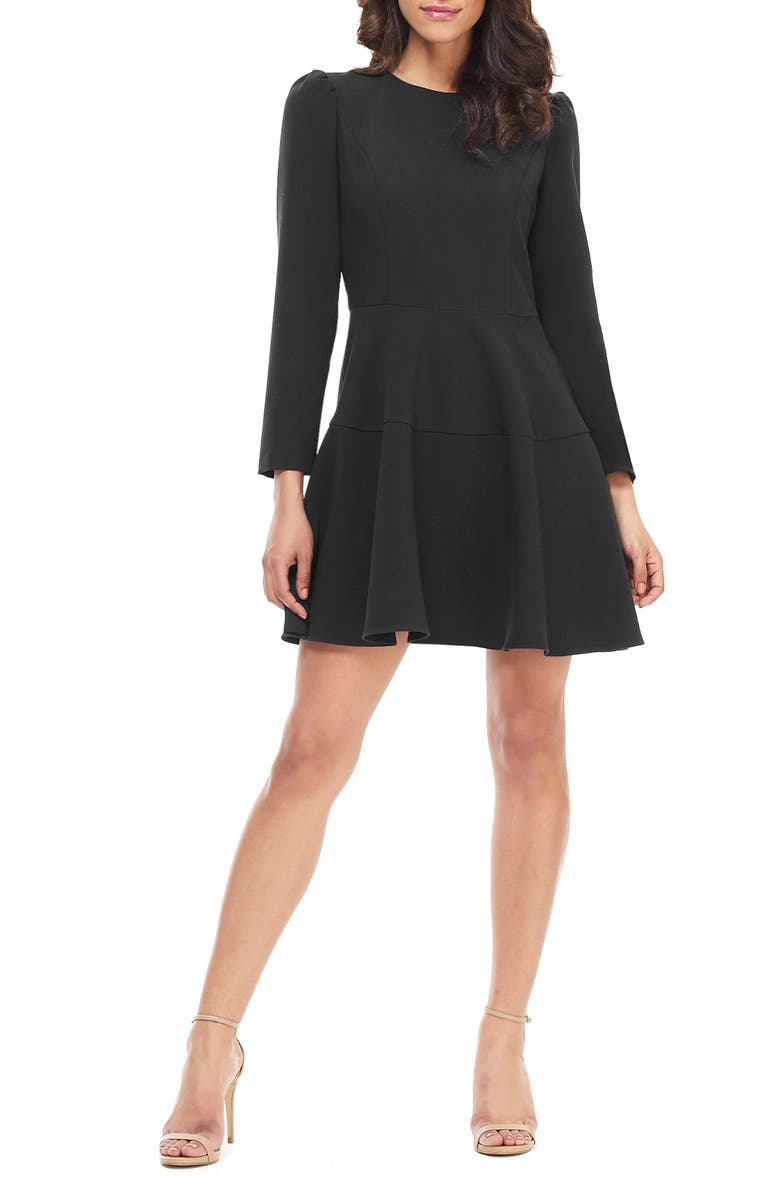 GAL MEETS GLAM COLLECTION Celeste Long Sleeve Fit & Flare Dress, Main, color, 001