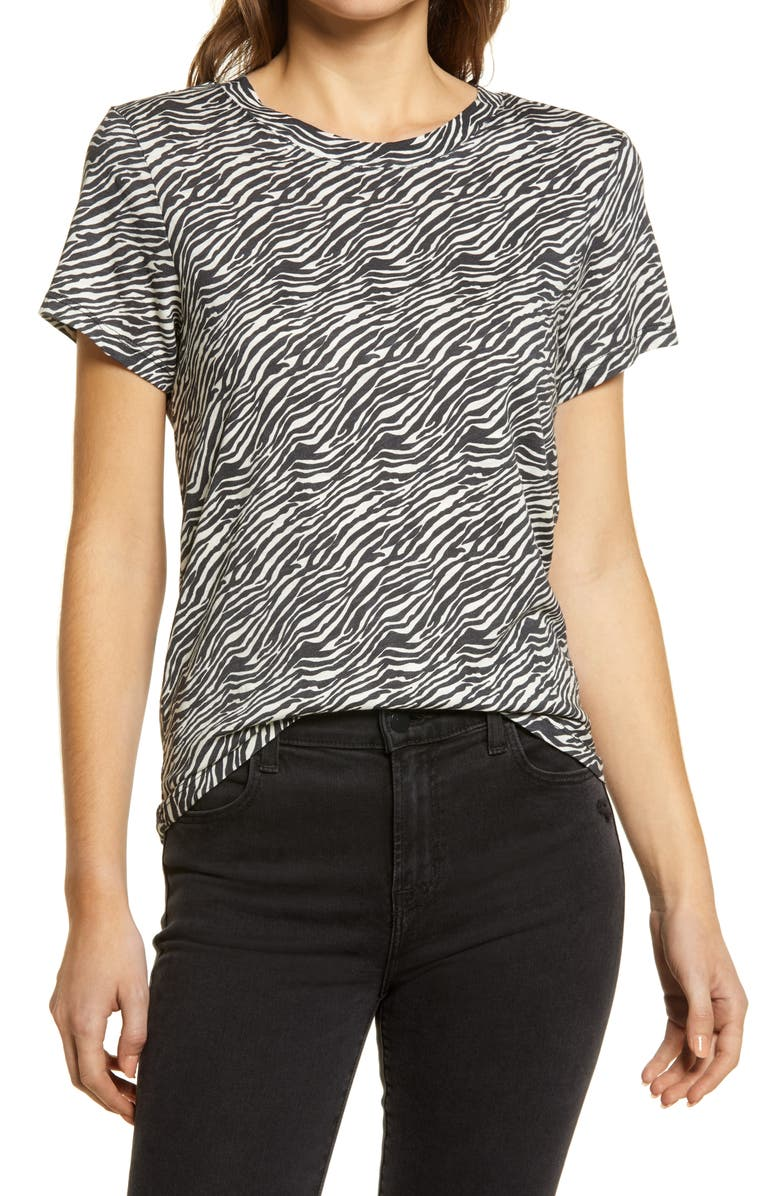 SANCTUARY The Perfect Animal Print Cotton & Modal Top, Main, color, ABSTRACT ANIMAL