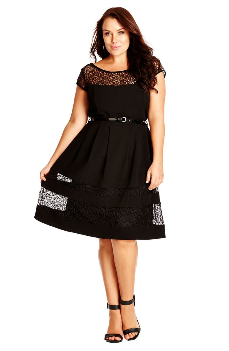 CITY CHIC Fit & Flare Dress with Delicate Lace Insets, Main, color, 001