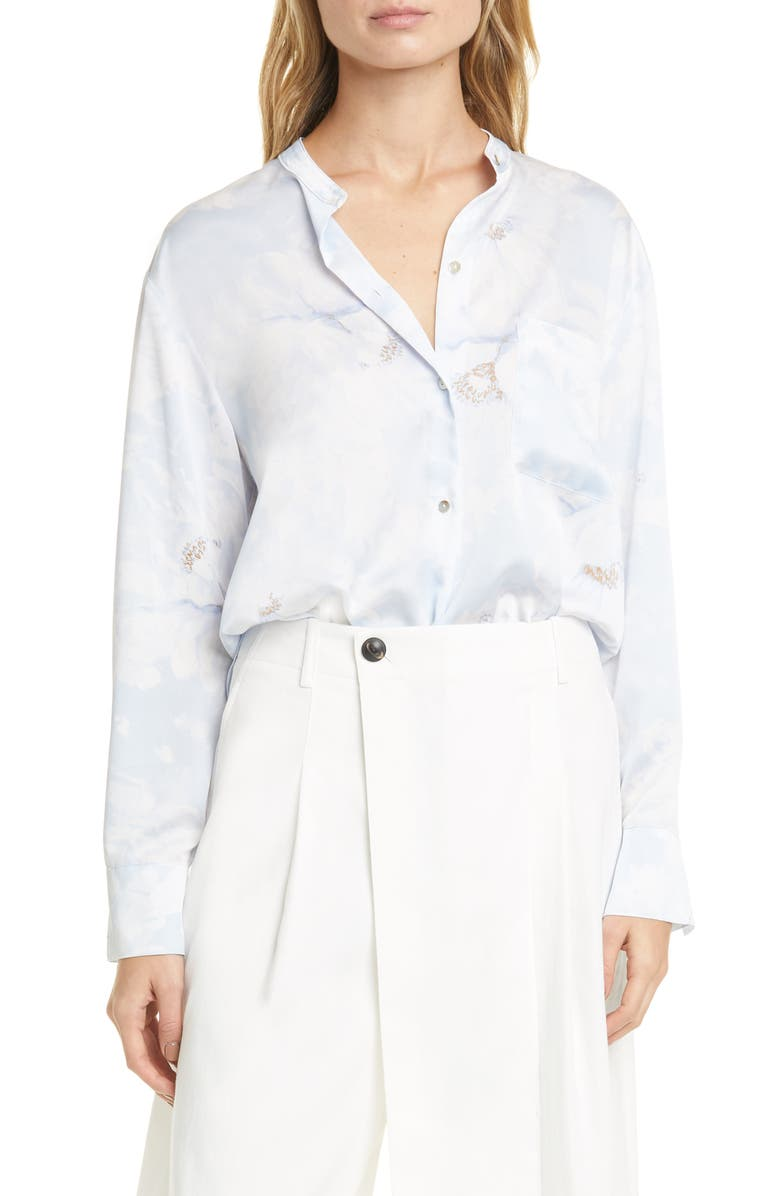 VINCE Painted Magnolia Band Collar Blouse, Main, color, 470