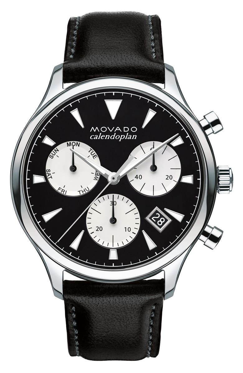 MOVADO 'Heritage' Chronograph Leather Strap Watch, 43mm, Main, color, BLACK/ BLACK