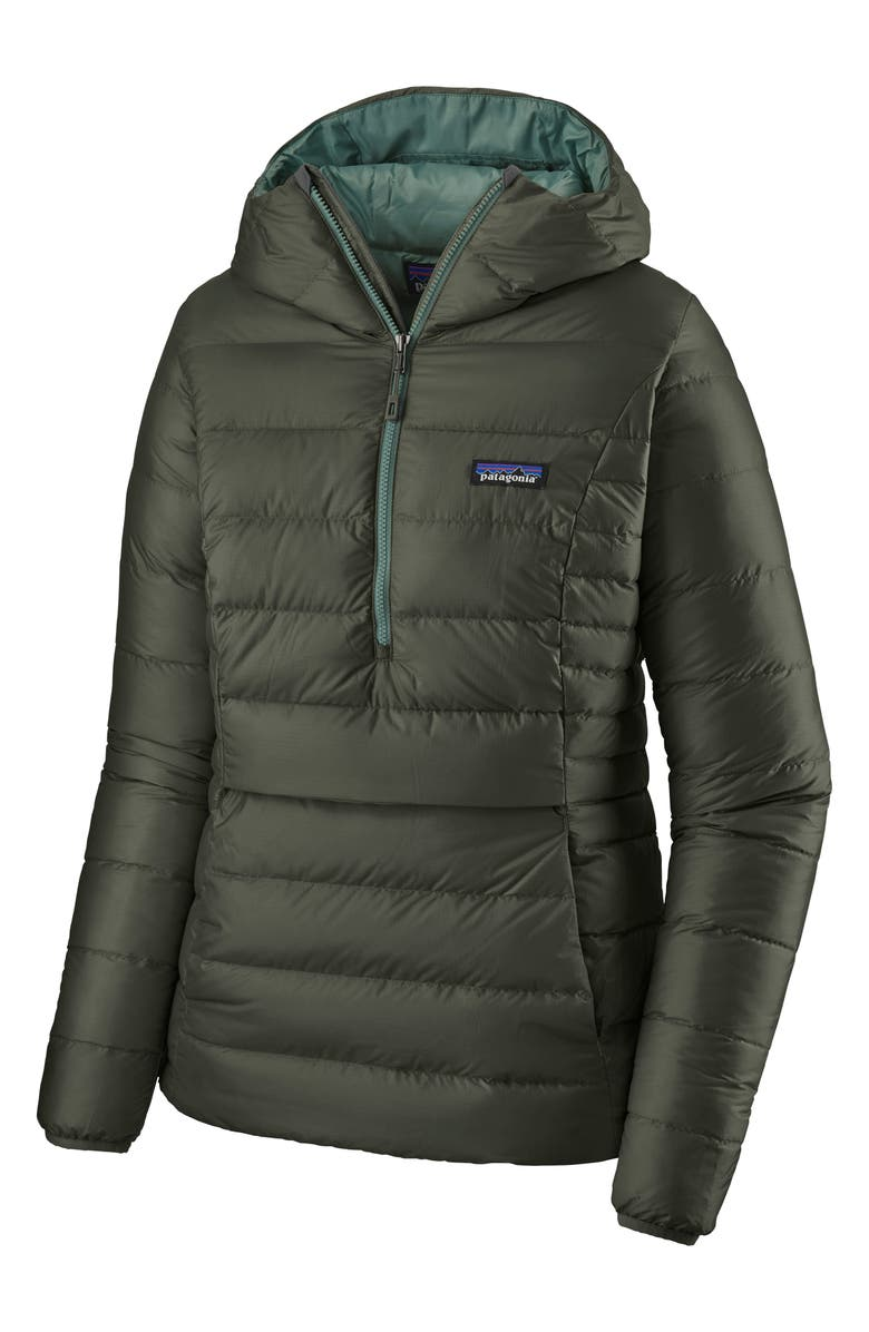 PATAGONIA Down Pullover Hoodie, Main, color, KELP FOREST