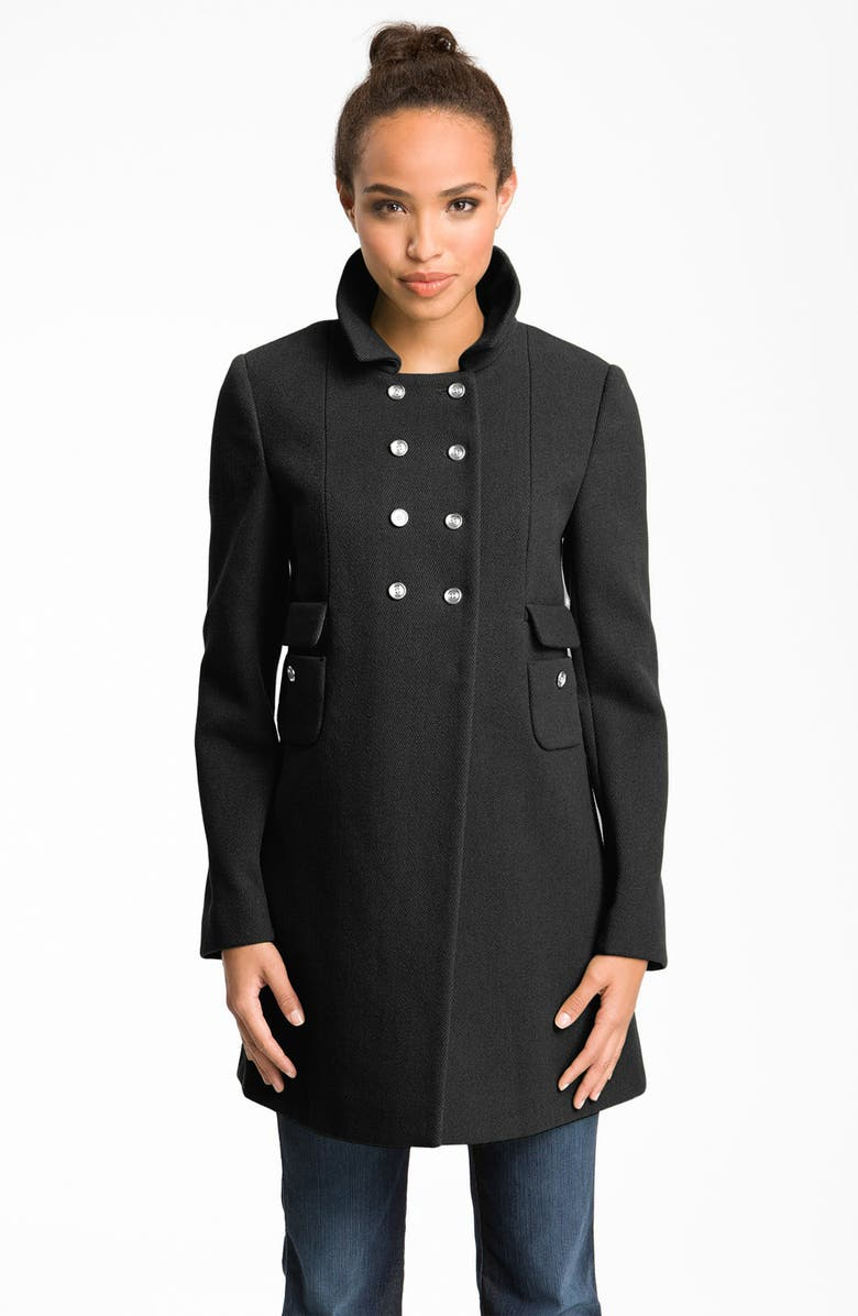 CALVIN KLEIN High Double Breasted Textured Peacoat, Main, color, 001
