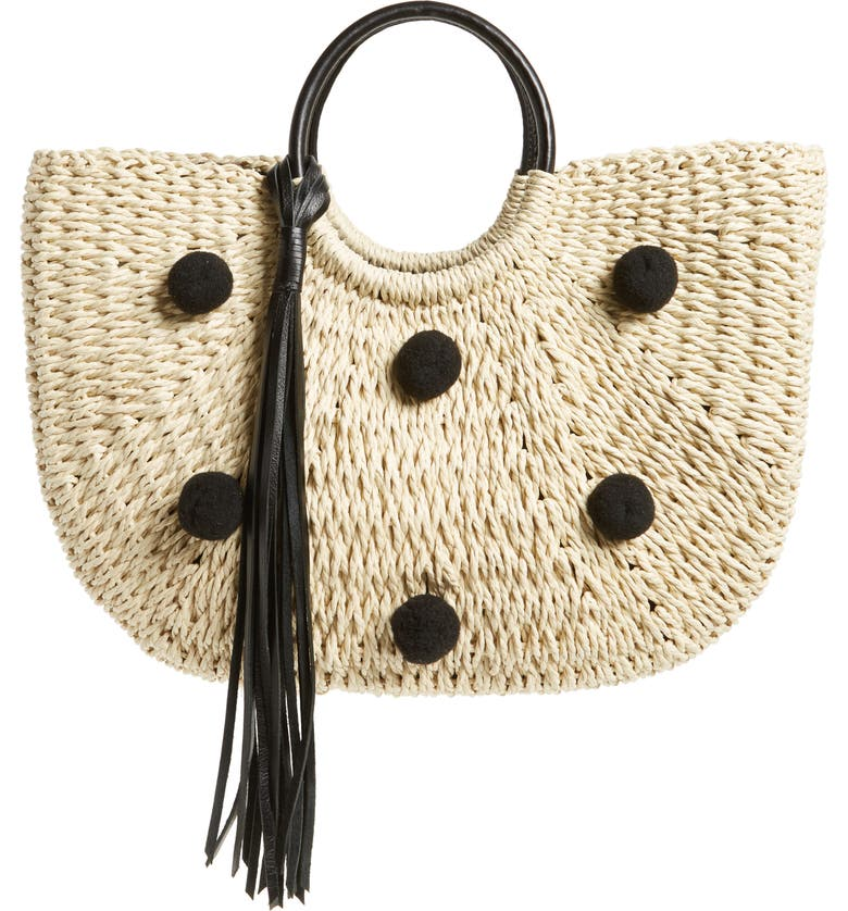 REBECCA MINKOFF Straw Pom Pom Tote, Main, color, 250