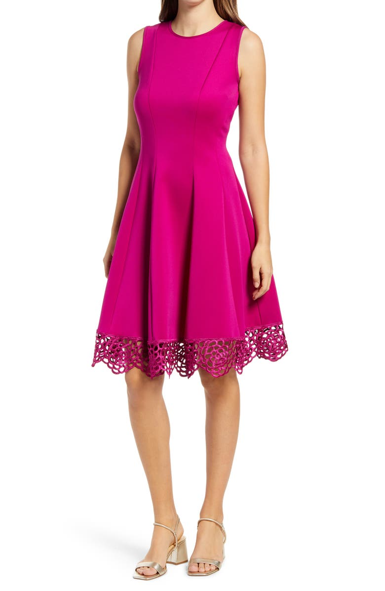 DONNA RICCO Sleeveless Fit & Flare Dress, Main, color, RASPBERRY