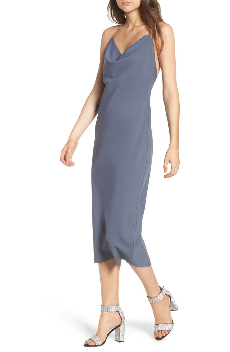 LEITH Cowl Neck Midi Dress, Main, color, GREY GRISAILLE