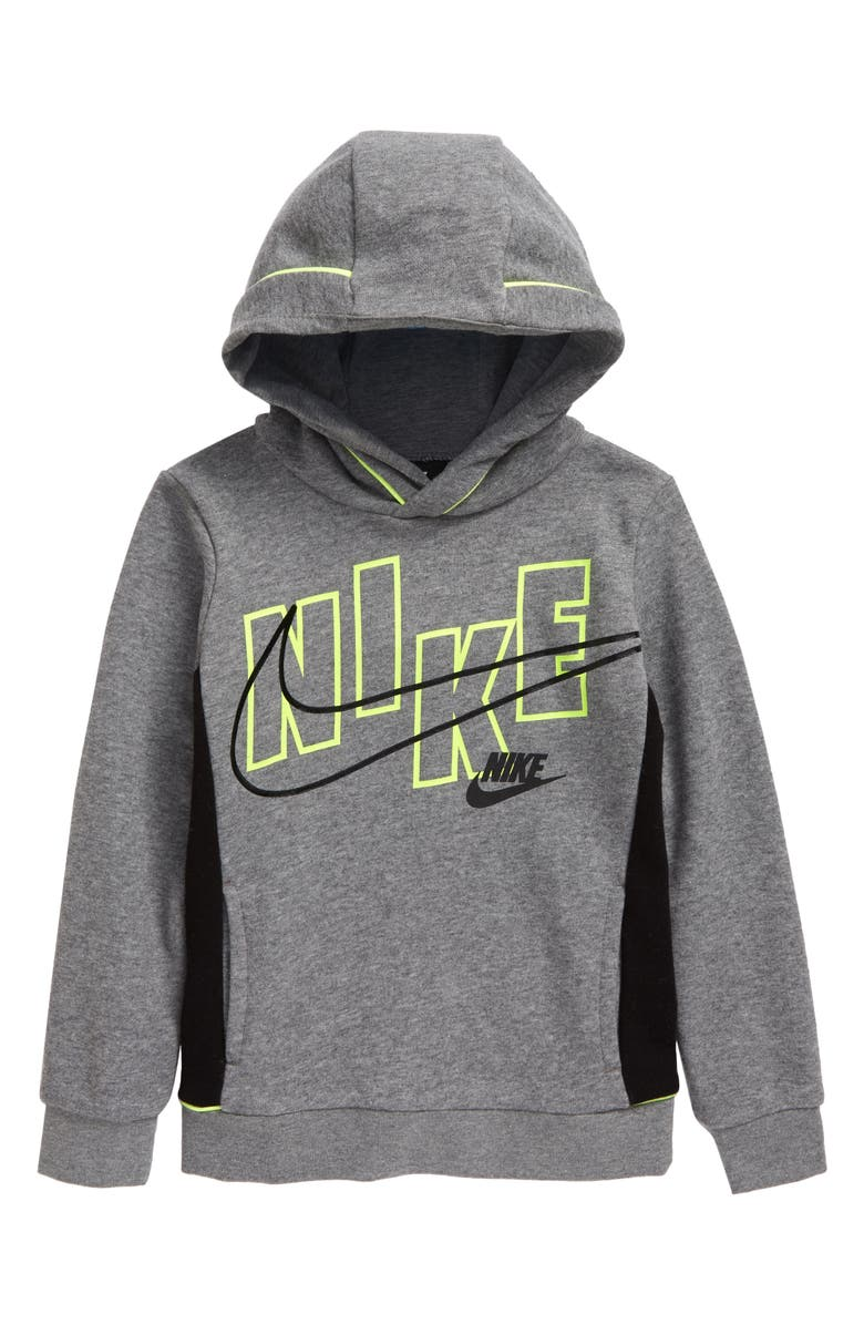 NIKE Kids' See Me 3D Logo Graphic Hoodie, Main, color, CARBON HEATHER