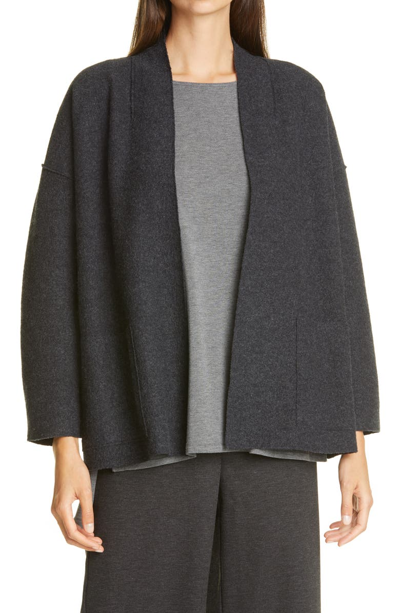 EILEEN FISHER Lightweight Boiled Wool Jacket, Main, color, CHARCOAL