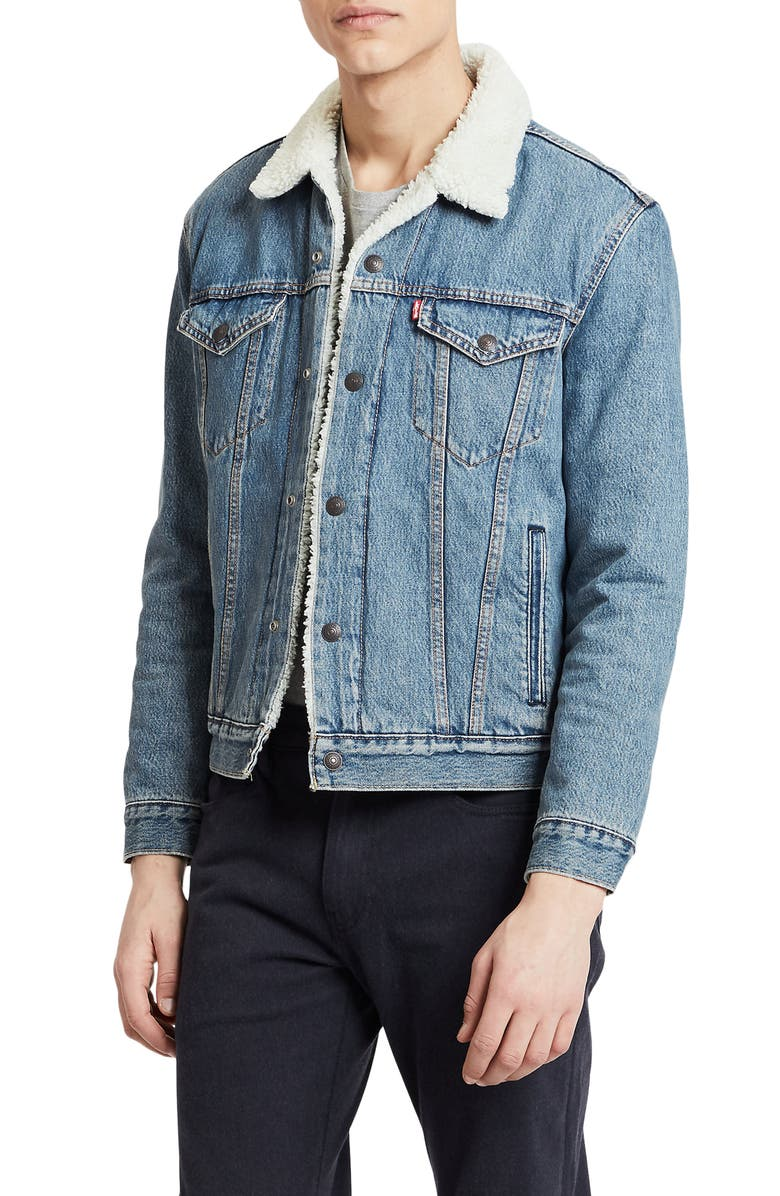 LEVI'S<SUP>®</SUP> Type III Faux Shearling Lined Denim Trucker Jacket, Main, color, GLASS BEACH