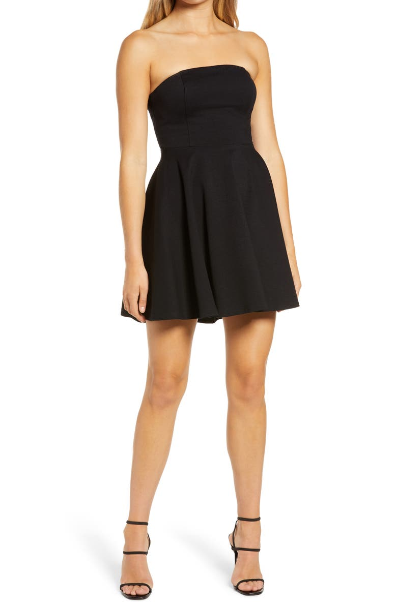 LULUS About a Twirl Strapless Skater Dress, Main, color, BLACK