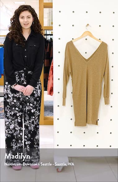 Double-V Long Sleeve Knit Dress, sales video thumbnail
