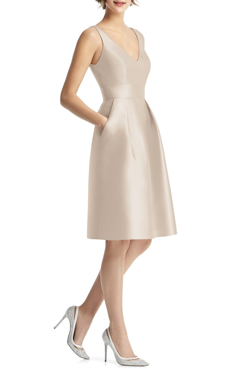 ALFRED SUNG V-Neck Satin Cocktail Dress, Main, color, CAMEO