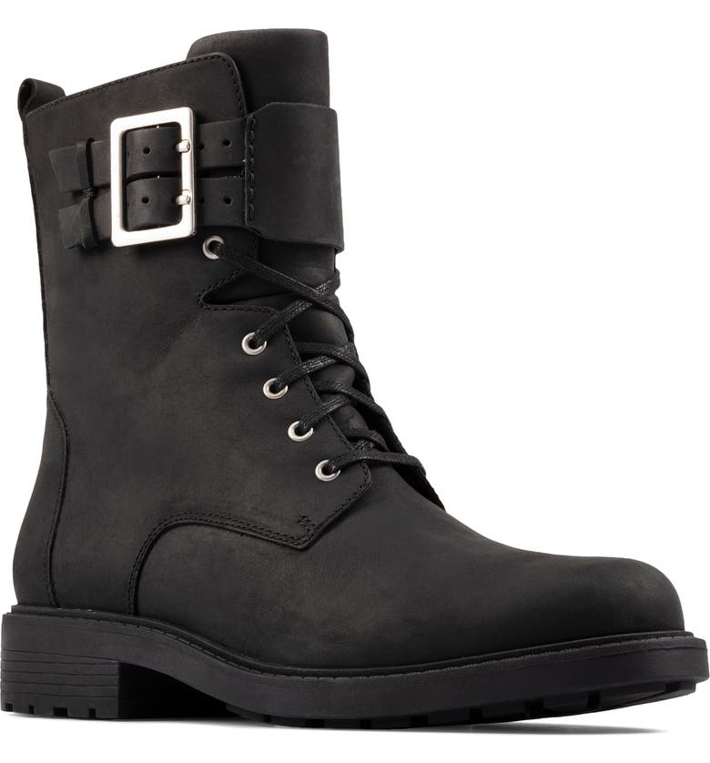 CLARKS<SUP>®</SUP> Orinoco 2 Combat Boot, Main, color, BLACK LEATHER