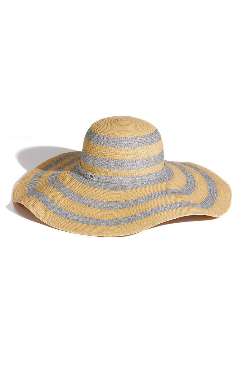 JUICY COUTURE Stripe Floppy Paper Straw Hat, Main, color, 102