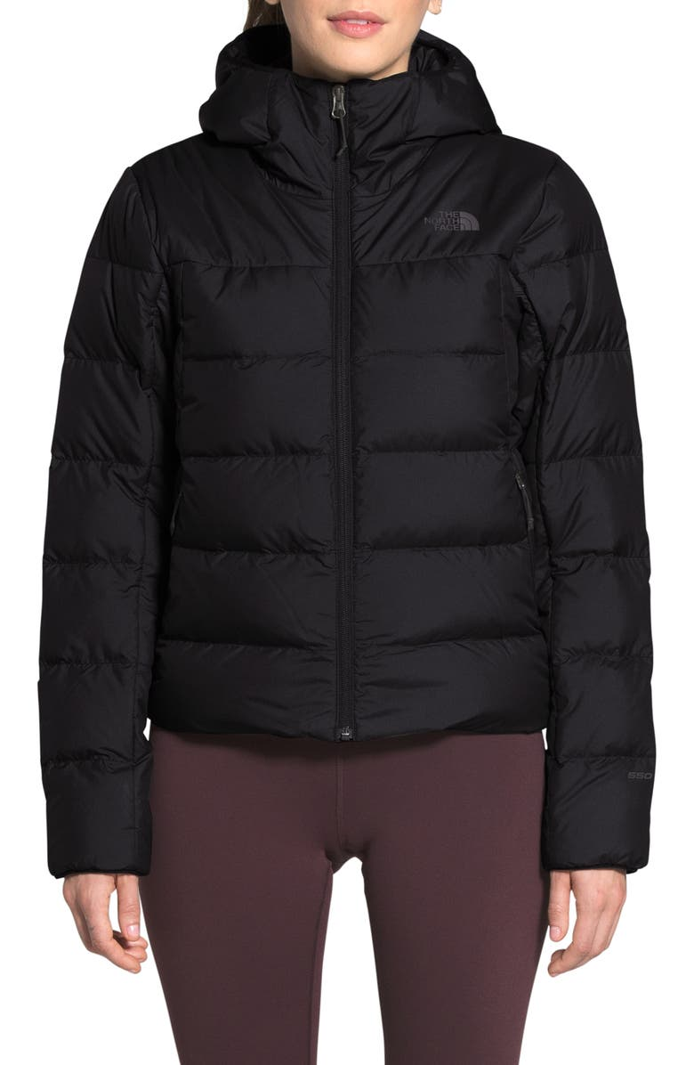 THE NORTH FACE Valle Hooded 550 Fill Power Down Coat, Main, color, 002
