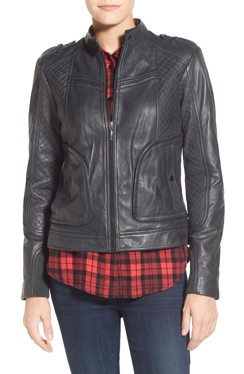 BERNARDO Quilted Leather Moto Jacket with Side Zips, Main, color, 027