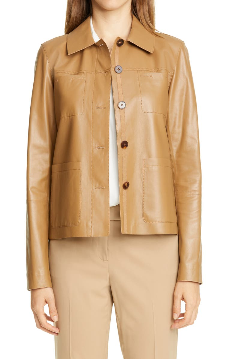 LAFAYETTE 148 NEW YORK Tomasa Leather Jacket, Main, color, CAMMELLO