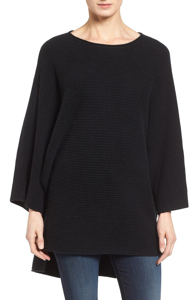 HALOGEN<SUP>®</SUP> Ribbed Cashmere Poncho, Main, color, 001