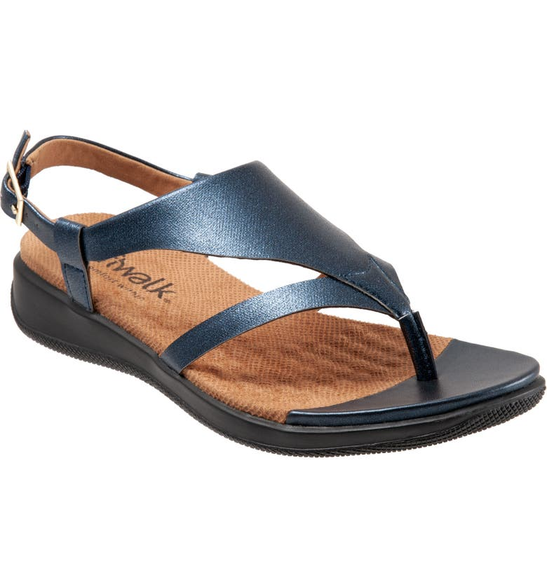 SOFTWALK<SUP>®</SUP> Temara Sandal, Main, color, NAVY FAUX LEATHER
