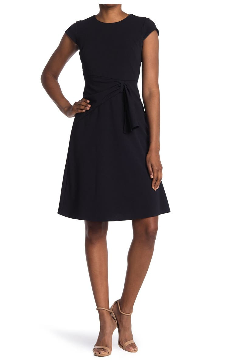 DONNA MORGAN Ruched Fit & Flare Dress, Main, color, MARINE NAVY
