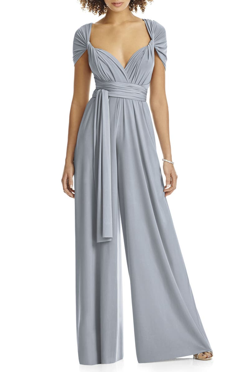 DESSY COLLECTION Convertible Wide Leg Jersey Jumpsuit, Main, color, 042