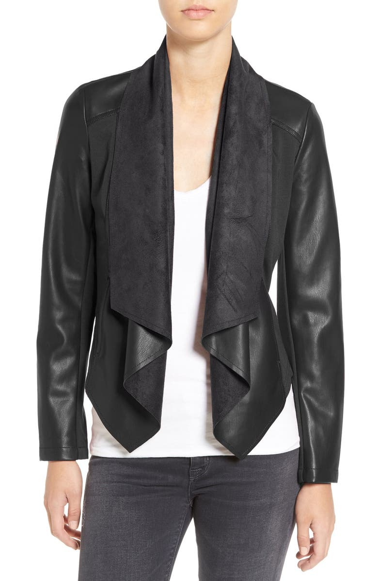 KUT FROM THE KLOTH 'Ana' Faux Leather Drape Front Jacket, Main, color, BLACK
